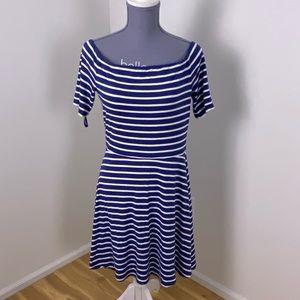 White House black market blue stripe dress medium